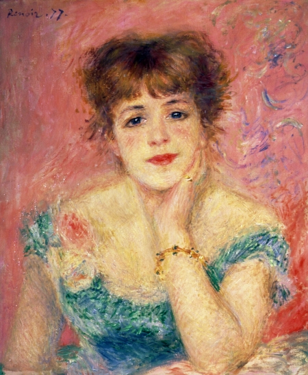 BAL35990 Portrait of the actress Jeanne Samary, 1877 (study) by Renoir, Pierre Auguste (1841-1919); 56x47 cm; Pushkin Museum, Moscow, Russia; French,  out of copyright